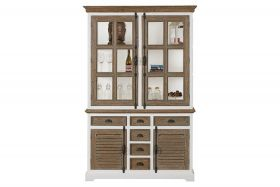 Martinique glass cabinet 2 doors, 6 drawers