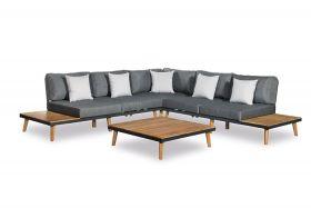 Caronas Loungeset met coffee table, inclusief alle zit- en rugkussens met coffee table Grijs