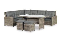 Bellini Dininglounge met tafel en 2 hockers, inclusief alle zit- en rugkussens