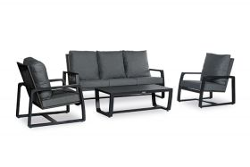 Sunlake loungeset antraciet met coffee table inclusief alle zit- en rugkussens