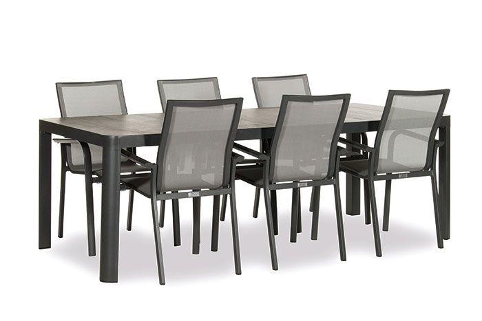 6 Persoons Tafel Met Stoelen.Reese Diningset Dark Grey Inclusief Tafel En 6 Stoelen Paco