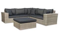 Manhattan Loungeset met coffee table, inclusief zit- en rugkussens en 4 sierkussens