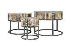 Vintage Coffee tables handgemaakt set van 3 Mosaic Top