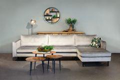 Hoekbank 'Maison' 3-zits met longchair | Velvet Grijs Sfeer