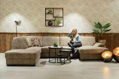 Bank 'Fiore' in U-opstelling met longchair | Preston 23 Beige